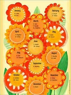 Printable card. Perpetual birthday calendar - Flowers