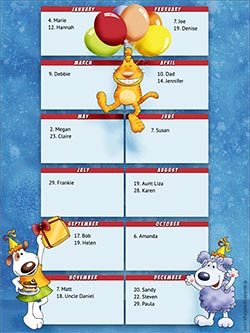 Printable card. Perpetual birthday calendar - Pets