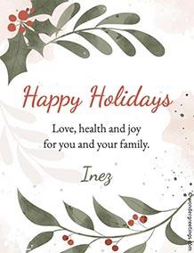 Printable card. Love, health and joy