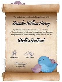 Printable card. Diploma to the best Dad in the world