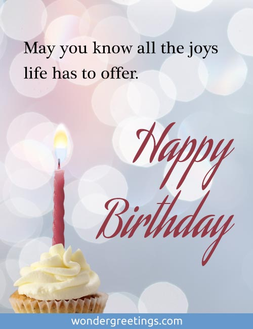 May you know all the joys life has to offer. <BR>HAPPY BIRTHDAY!