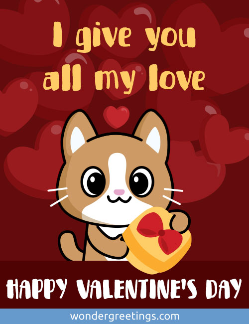 I give you all my love. <BR>HAPPY VALENTINE'S DAY