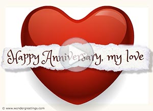 Anniversary ecard. I send my heart to you