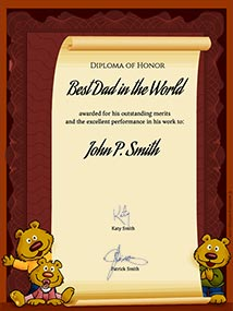 Printable card. World's Best Dad diploma