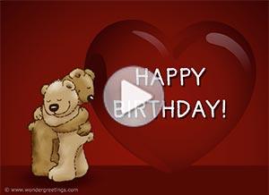 Birthday ecard. Sending you a hug from a distance