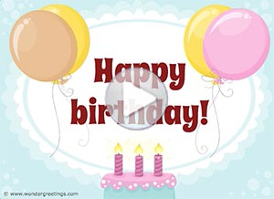 Birthday ecard. Yesterday, today and tomorrow