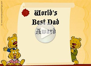 Father's Day ecard. World's Best Dad Award